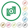 Yen coins outlined flat icons - Set of yen coins color round outlined flat icons on white background
