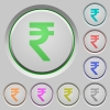 Indian rupee sign push buttons - Set of color indian rupee sign sunk push buttons.