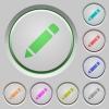 Pencil push buttons - Set of color pencil sunk push buttons.