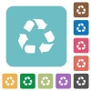 Flat recycling icons - Flat recycling icons on rounded square color backgrounds.