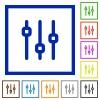 Set of color square framed vertical adjustment flat icons - Vertical adjustment framed flat icons