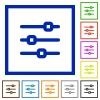 Horizontal adjustment framed flat icons - Set of color square framed horizontal adjustment flat icons