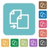 Flat copy file icons on rounded square color backgrounds. - Flat copy file icons