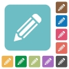 Flat pencil icons - Flat pencil icons on rounded square color backgrounds.