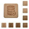 Database settings wooden buttons - Set of carved wooden database settings buttons in 8 variations.