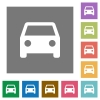 Car square flat icons - Car flat icon set on color square background.