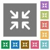 Minimize square flat icons - Minimize flat icon set on color square background.