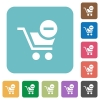 Flat remove from cart icons - Flat remove from cart icons on rounded square color backgrounds.