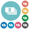 Flat bitcoin banknotes icons - Flat bitcoin banknotes icon set on round color background.