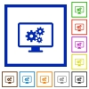 Screen settings framed flat icons - Set of color square framed Screen settings flat icons