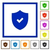 Security active framed flat icons - Set of color square framed Security active flat icons
