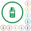 POS terminal outlined flat icons - Set of POS terminal color round outlined flat icons on white background