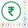 Indian rupee sign outlined flat icons - Set of Indian rupee sign color round outlined flat icons on white background