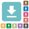 Flat download icons - Flat download icons on rounded square color backgrounds.
