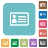 Flat ID card icons - Flat ID card icons on rounded square color backgrounds.