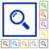 Magnifier framed flat icons - Set of color square framed Magnifier flat icons