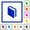 Book framed flat icons - Set of color square framed book flat icons