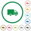 Delivery truck outlined flat icons - Set of delivery truck color round outlined flat icons on white background