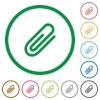 Attachment outlined flat icons - Set of attachment color round outlined flat icons on white background