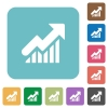 Flat rising graph icons - Flat rising graph icons on rounded square color backgrounds.