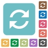 Flat refresh icons - Flat refresh icons on rounded square color backgrounds.