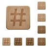 Hashtag wooden buttons - Set of carved wooden hashtag buttons in 8 variations.