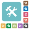 Flat tools icons - Flat tools icons on rounded square color backgrounds.