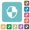 Flat shield icons - Flat shield icons on rounded square color backgrounds.