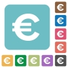 Flat euro sign icons - Flat euro sign icons on rounded square color backgrounds.