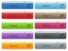 Export captioned menu button set - Set of export glossy color captioned menu buttons with engraved icons