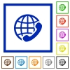 International call framed flat icons - Set of color square framed international call flat icons