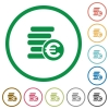 Euro coins outlined flat icons - Set of euro coins color round outlined flat icons on white background