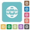 Flat www globe icons - Flat www globe icons on rounded square color backgrounds.