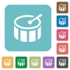 Flat drum icons - Flat drum icons on rounded square color backgrounds.