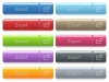 Export captioned menu button set - Set of export glossy color captioned menu buttons with embossed icons