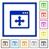 Move window framed flat icons - Set of color square framed move window flat icons