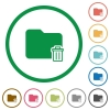 Delete folder outlined flat icons - Set of delete folder color round outlined flat icons on white background