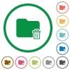 Delete folder outlined flat icons - Set of delete folder color round outlined flat icons on white background