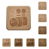 Bowling wooden buttons - Set of carved wooden bowling buttons in 8 variations.