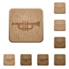 Trumpet wooden buttons - Set of carved wooden trumpet buttons in 8 variations.