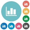 Flat statistics icons - Flat statistics icon set on round color background.