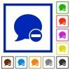 Set of color square framed Delete blog comment flat icons - Delete blog comment framed flat icons