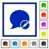 Set of color square framed Moderate blog comment flat icons - Moderate blog comment framed flat icons