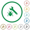 Bug fixing outlined flat icons - Set of Bug fixing color round outlined flat icons on white background