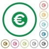 Euro sticker outlined flat icons - Set of euro sticker color round outlined flat icons on white background