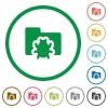 Bug folder outlined flat icons - Set of bug folder color round outlined flat icons on white background