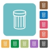Flat trash icons - Flat trash icons on rounded square color backgrounds.