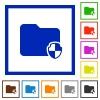 Protect folder framed flat icons - Set of color square framed Protect folder flat icons