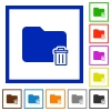 Delete folder framed flat icons - Set of color square framed Delete folder flat icons