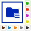 Folder options framed flat icons - Set of color square framed Folder options flat icons